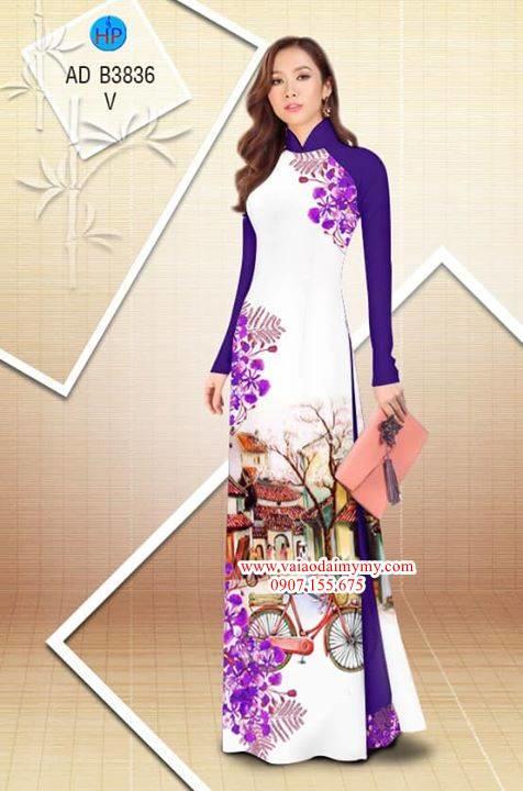 Vải áo dài hoa Phượng trong kỷ niệm AD B3836 4