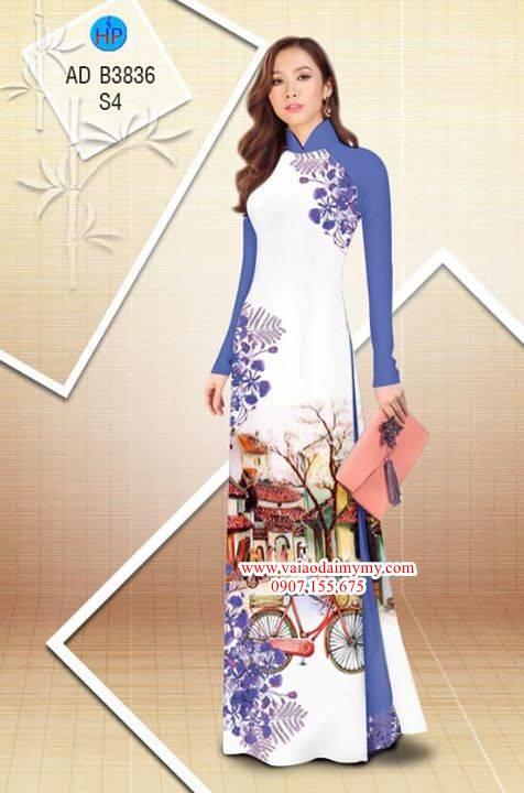 Vải áo dài hoa Phượng trong kỷ niệm AD B3836 5