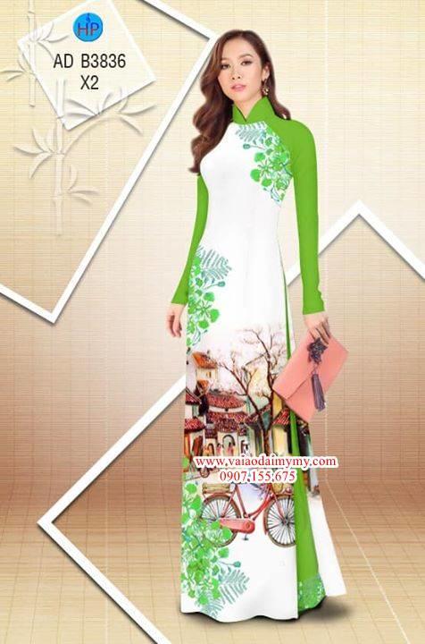 Vải áo dài hoa Phượng trong kỷ niệm AD B3836 7