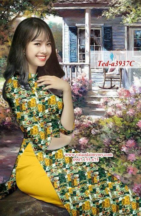 Vải áo dài hoa đều AD TED a3937 1