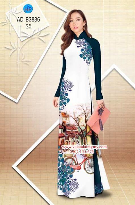 Vải áo dài hoa Phượng trong kỷ niệm AD B3836 9