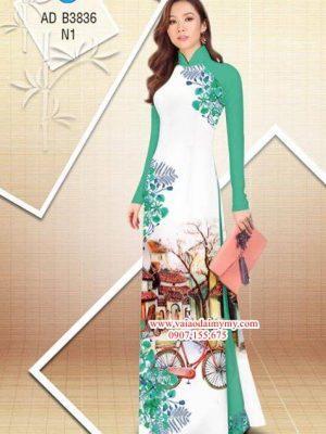 Vải áo dài hoa Phượng trong kỷ niệm AD B3836 23