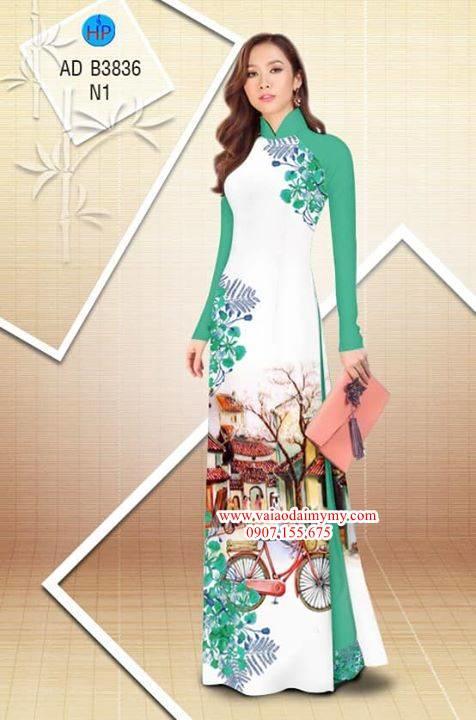 Vải áo dài hoa Phượng trong kỷ niệm AD B3836 11