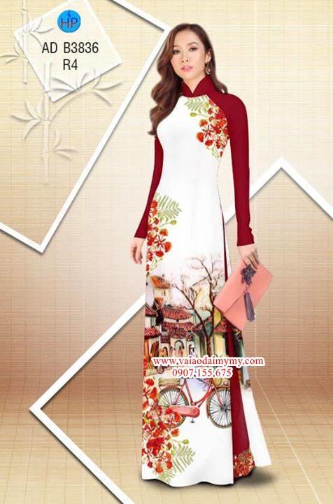 Vải áo dài hoa Phượng trong kỷ niệm AD B3836 10