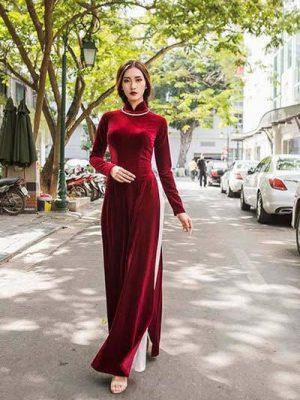 Vải áo dài nhung màu đỏ đô tươi 7