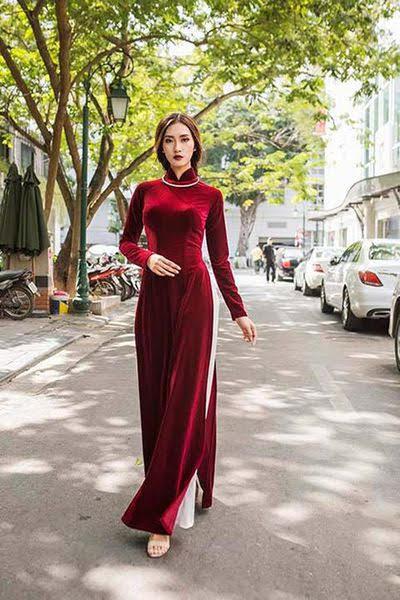Vải áo dài nhung màu đỏ đô tươi 1