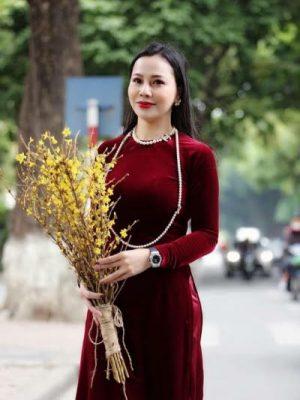 Vải áo dài nhung màu đỏ đô tươi 6