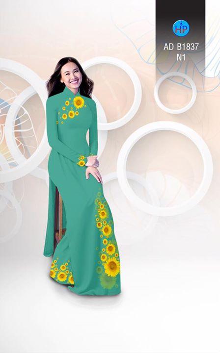 Vải áo dài hoa hướng dương AD B1837 3