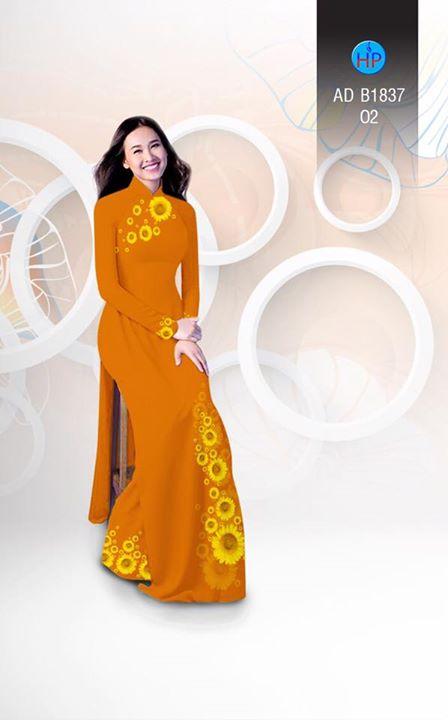 Vải áo dài hoa hướng dương AD B1837 4