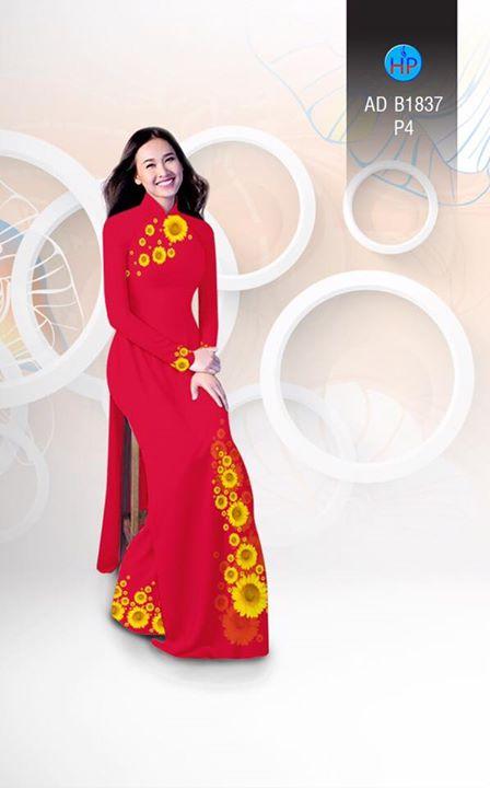 Vải áo dài hoa hướng dương AD B1837 6