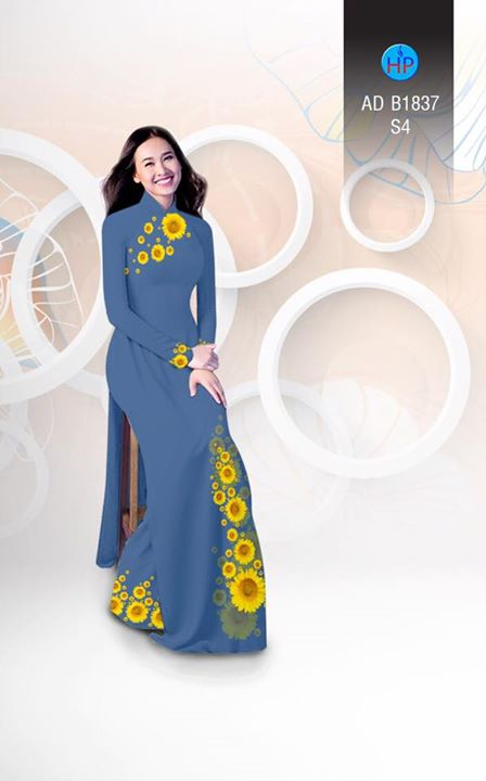 Vải áo dài hoa hướng dương AD B1837 5