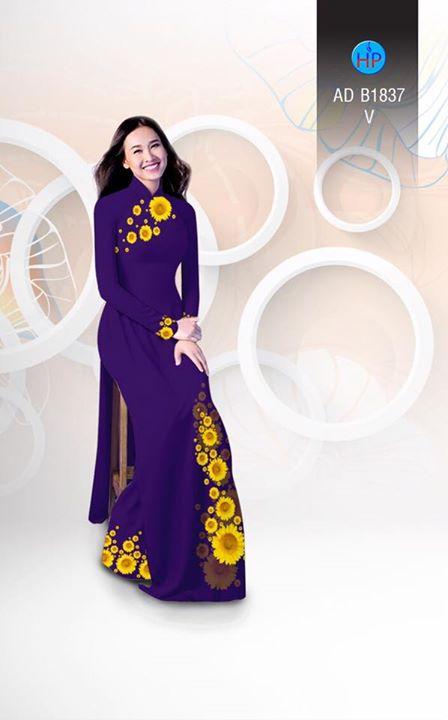 Vải áo dài hoa hướng dương AD B1837 7