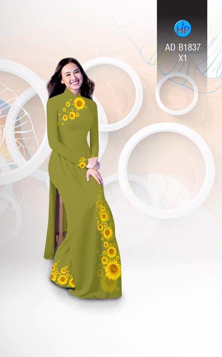 Vải áo dài hoa hướng dương AD B1837 9