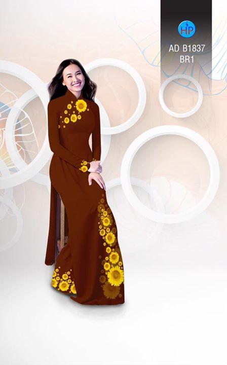 Vải áo dài hoa hướng dương AD B1837 13