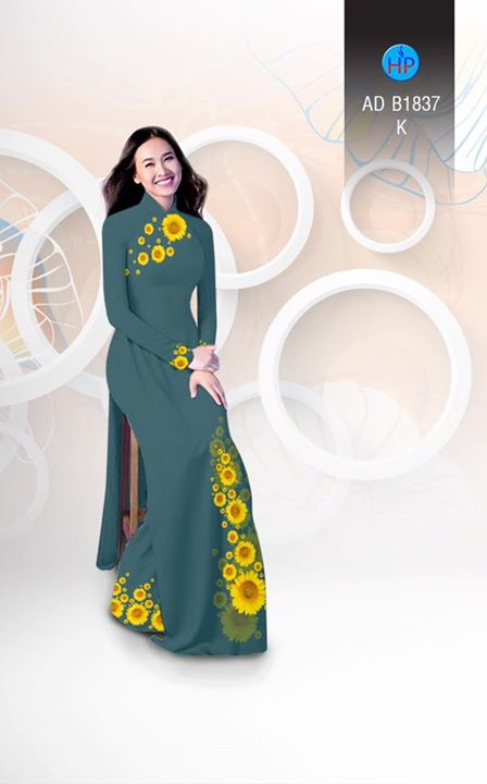 Vải áo dài hoa hướng dương AD B1837 11