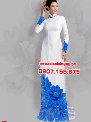 Vải áo dài hoa đẹp dưới tà AD 14