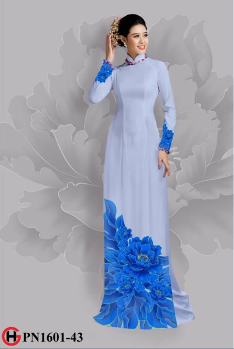 Vải áo dài hoa đẹp dưới tà AD 4