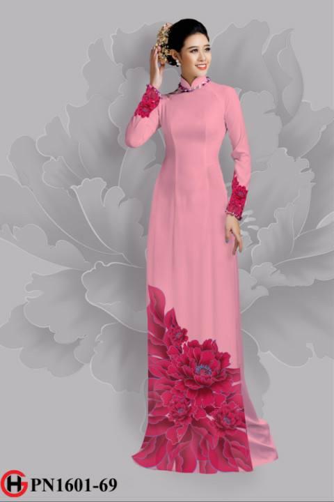 Vải áo dài hoa đẹp dưới tà AD 5