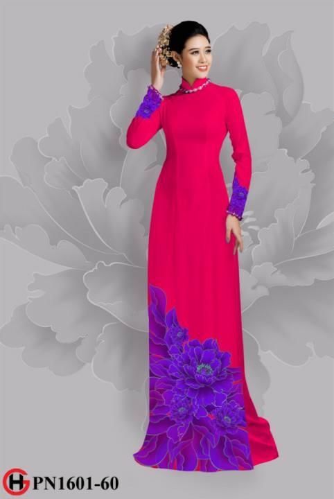 Vải áo dài hoa đẹp dưới tà AD 12