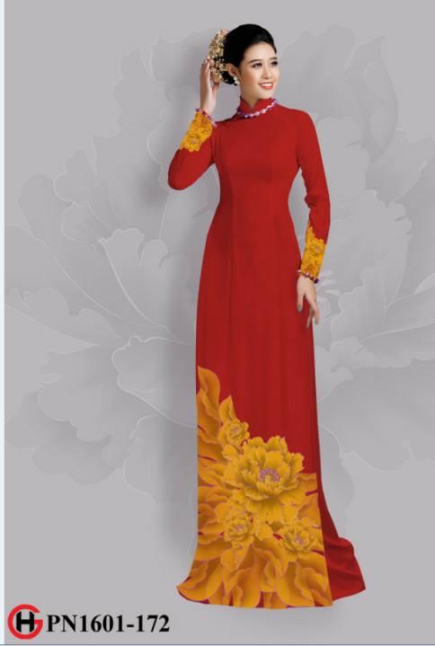 Vải áo dài hoa đẹp dưới tà AD 13