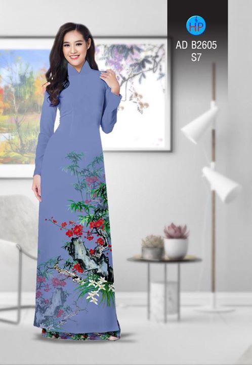 Vải áo dài Hoa in 3D AD B2605 3