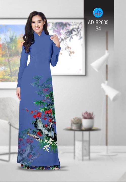Vải áo dài Hoa in 3D AD B2605 4