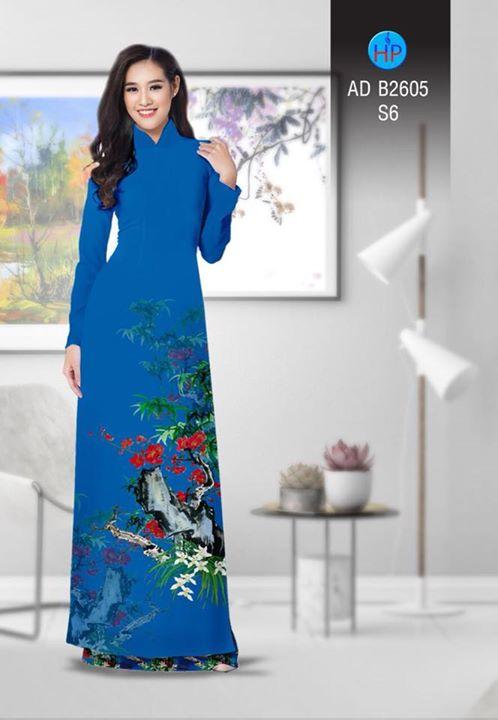 Vải áo dài Hoa in 3D AD B2605 5