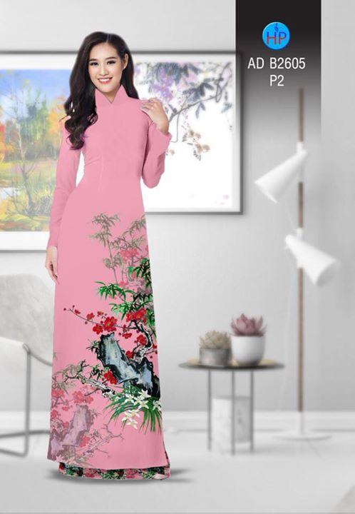 Vải áo dài Hoa in 3D AD B2605 7