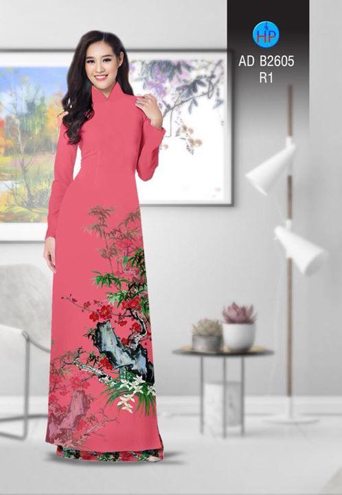 Vải áo dài Hoa in 3D AD B2605 8
