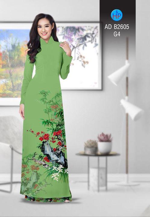 Vải áo dài Hoa in 3D AD B2605 11