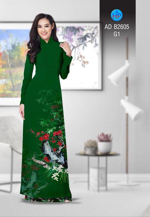 Vải áo dài Hoa in 3D AD B2605 12