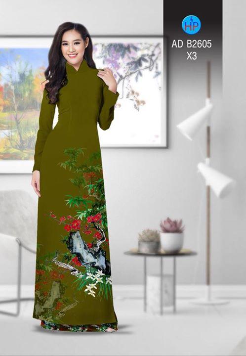 Vải áo dài Hoa in 3D AD B2605 13