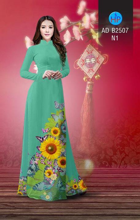 Vải áo dài Hoa hướng dương AD B2507 5