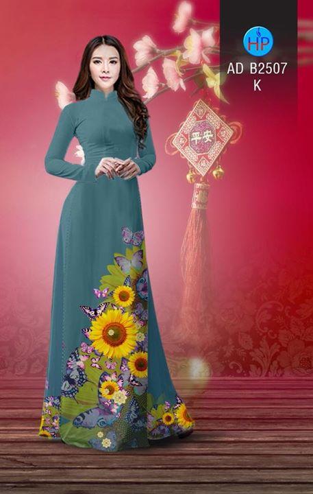Vải áo dài Hoa hướng dương AD B2507 4