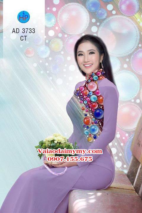 Vải áo dài Những hạt ngọc sắc màu AD 3733 2