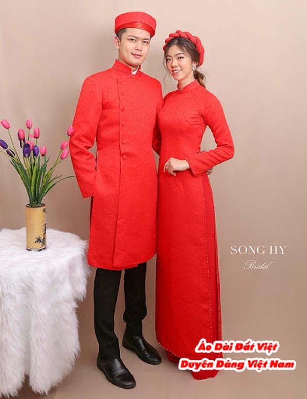 30 Mẫu Áo Dài Cưới Màu Đỏ Đẹp Hiện Nay 1