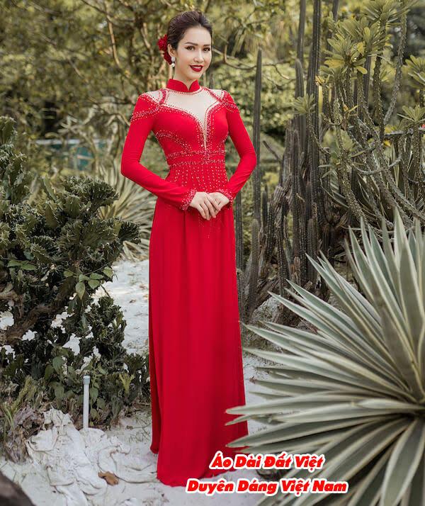 30 Mẫu Áo Dài Cưới Màu Đỏ Đẹp Hiện Nay 7