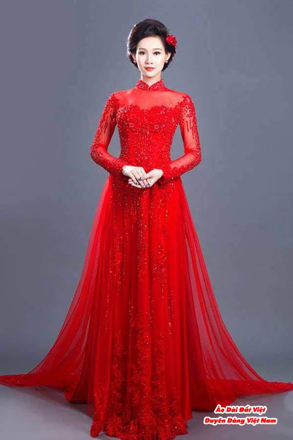 30 Mẫu Áo Dài Cưới Màu Đỏ Đẹp Hiện Nay 17