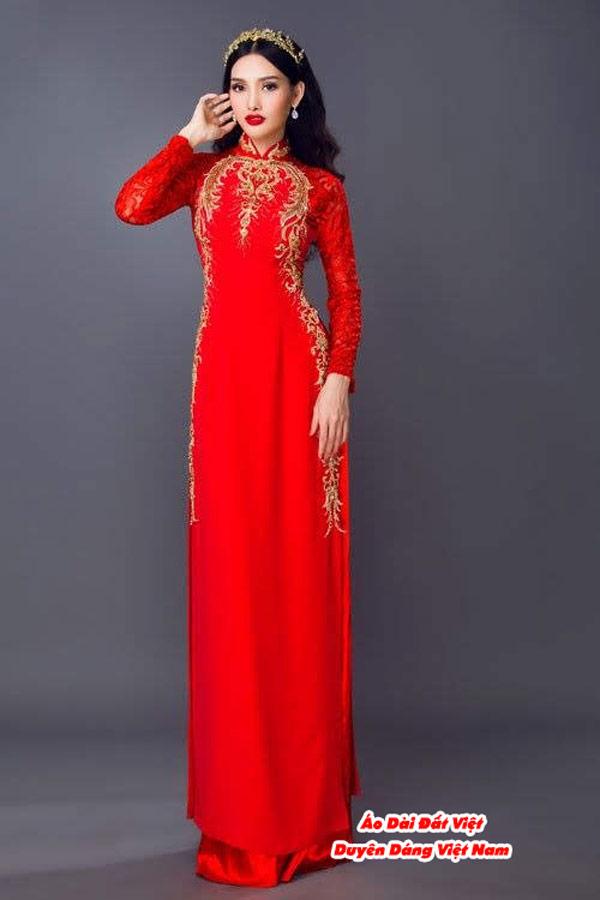30 Mẫu Áo Dài Cưới Màu Đỏ Đẹp Hiện Nay 23