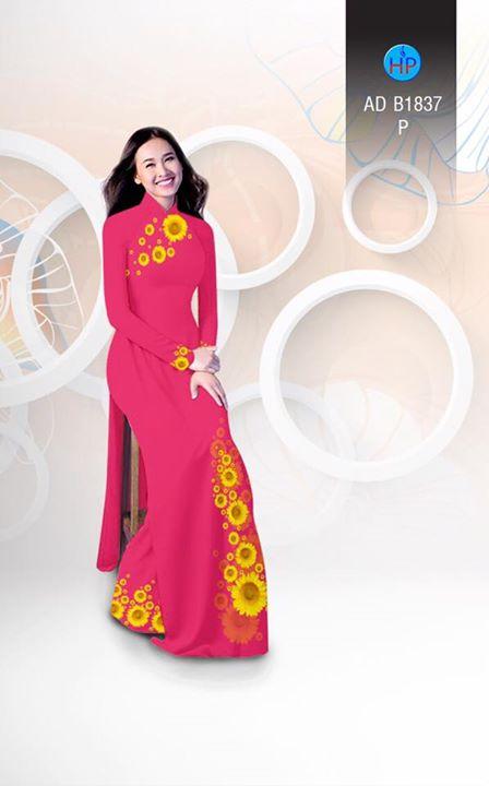 Vải áo dài hoa hướng dương AD B1837 2