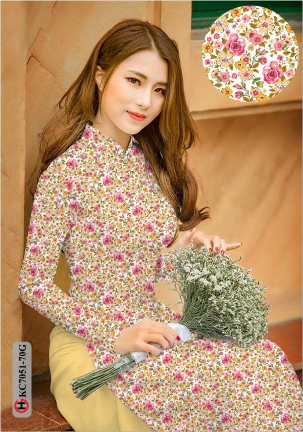 Vải áo dài hoa nhí AD KC7051 2