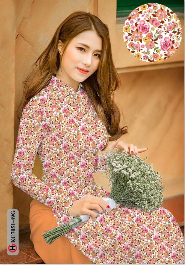 Vải áo dài hoa nhí AD KC7051 8