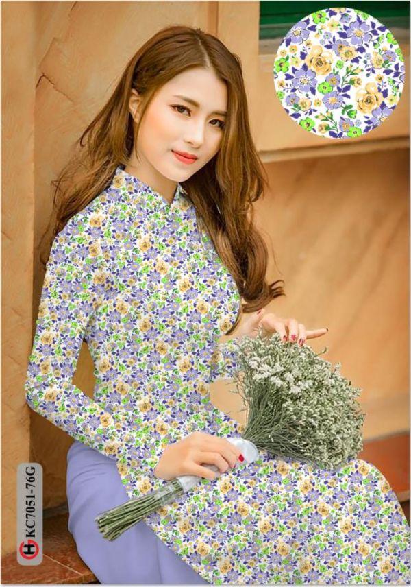 Vải áo dài hoa nhí AD KC7051 5