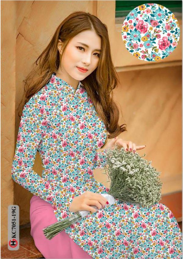 Vải áo dài hoa nhí AD KC7051 13