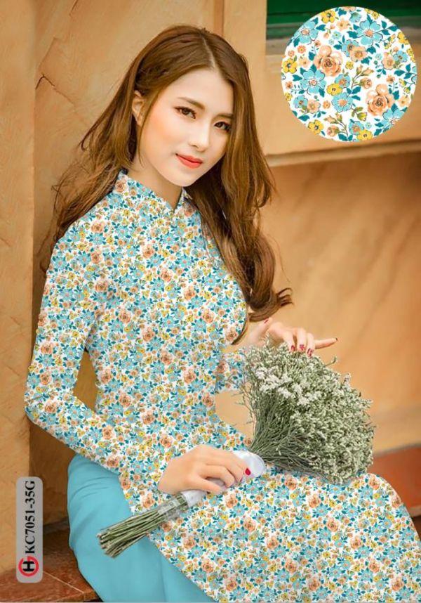 Vải áo dài hoa nhí AD KC7051 10