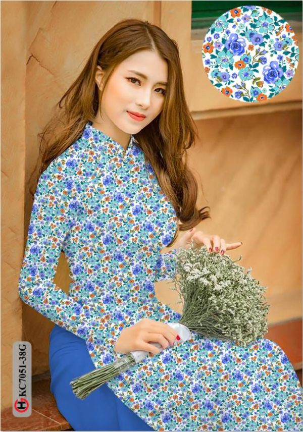 Vải áo dài hoa nhí AD KC7051 9