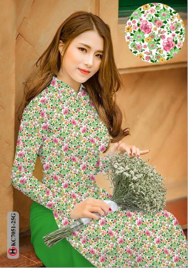 Vải áo dài hoa nhí AD KC7051 11