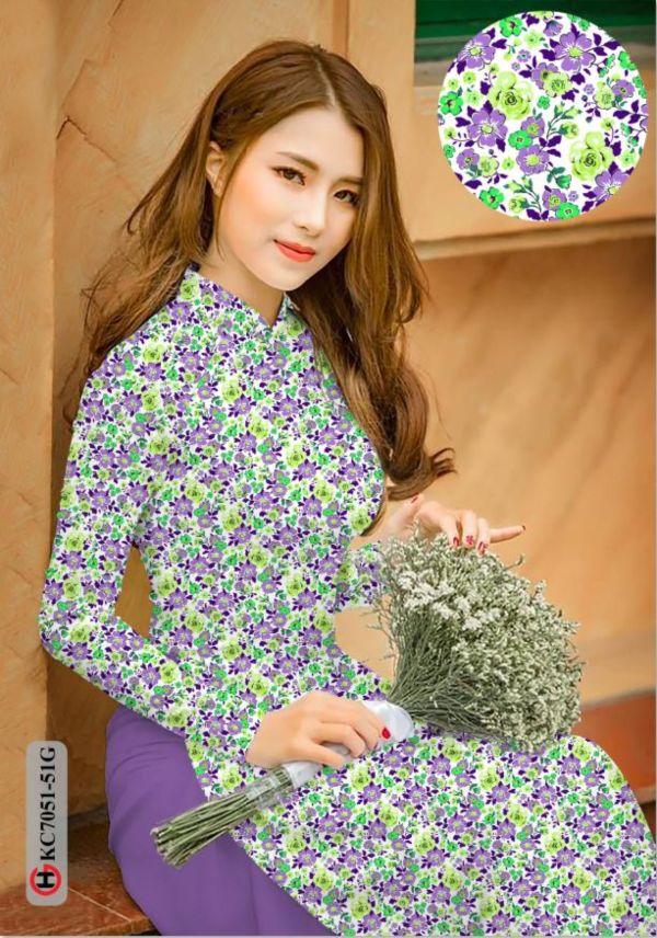 Vải áo dài hoa nhí AD KC7051 6