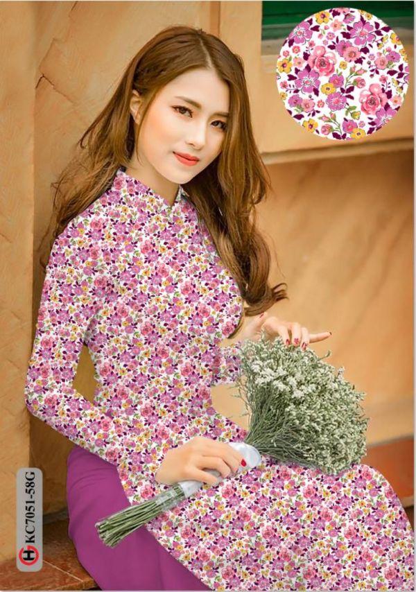 Vải áo dài hoa nhí AD KC7051 4