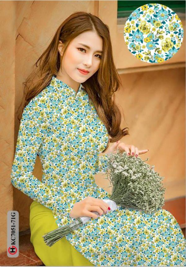 Vải áo dài hoa nhí AD KC7051 1